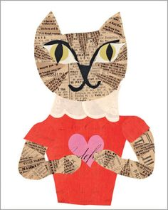 heart cat valentine paste vintage paper collage printed A2 folding greeting card 4.25 by 5.5 inches, designed by denise fiedler of pastesf and printed on recycled paper