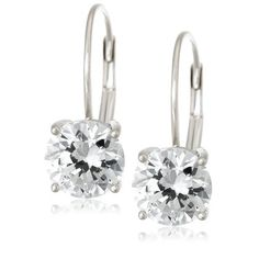 Platinum Plated Sterling Silver Round-Cut Cubic Zirconia Lever Back Earrings   Amazon Curated Collection  $17.00