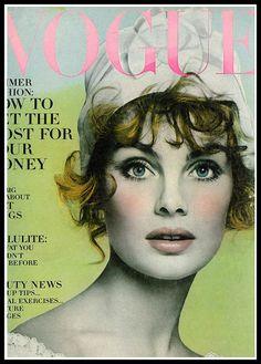 Jean Shrimpton, cover photo by Richard Avedon, Vogue US, April 1968 Vogue Vintage, Vintage Vogue Covers, Jean Shrimpton, Richard Avedon, Top Models, Editorial, Image Deco, Magazin Covers, Look Jean