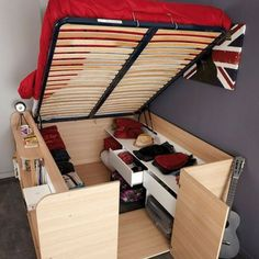Parisot Space Up Bed and Storage, the Hidden Storage Bed. The hidden treasure of the Space Up bed is the hidden storage area underneath. Tiny House Living, Small Living, Rv Living, Living Room, Tiny House Storage, Cabin Bed With Storage, Kids Beds With Storage, Kids Storage, Space Saving Furniture