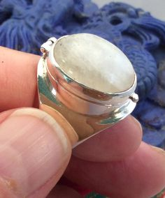 Size 7 Sterling Silver Ring. Natural Crystal by LotusLakeBuddhist