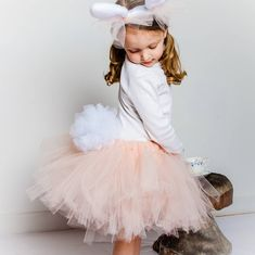 Peach And White Tulu Dress With Bunny Headband For Easter