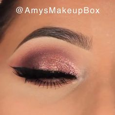 Glamorous Rose Gold Eye Makeup - A perfect makeup for special events By: Amys Makeup Box - Smokey Eye Makeup Tutorial, Eye Makeup Steps, Makeup Eye Looks, Cat Eye Makeup, Makeup Box, Makeup For Brown Eyes, Eyeshadow Makeup, How To Eyeshadow, Shimmer Eye Makeup