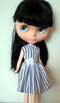 Striped Dress for Blythe. Blue and White Stripes Print. $13.50, via Etsy.