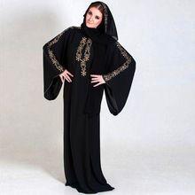 2016 Vestidos de Noche de Gasa de Manga Larga Kaftan Abayas Árabe Musulmana de Oriente medio Dubai Túnica Islámica Con Hijab Perlas De Fantasía(China (Mainland))