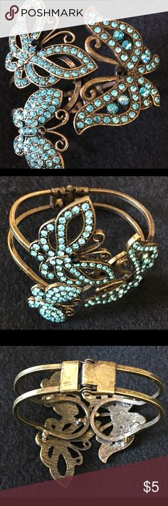 Crystal Butterfly Bracelet Hinged Bracelet Embellished with Turquoise Butterflies Jewelry Bracelets