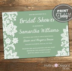 Lace Bridal Shower Invitation, Wedding Shower Invite, Lace, Sage Green, Green, White, Printable File (Custom Order, INSTANT DOWNLOAD) by InvitingDesignStudio on Etsy