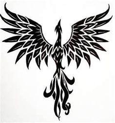 tribal phoenix, flash type, tattoo idea.