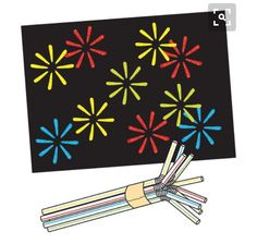Fireworks painting Holding all the straws with the accordion folds at the same end, use masking tape to hold 8 drinking straws together. Change the number of straws used for variety. Fireworks Pictures, Fireworks Art, New Year's Crafts, Crafts For Kids, Arts And Crafts, Bonfire Night Activities, 4th July Crafts, Firework Painting, Black Construction Paper