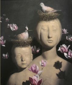 pink - motjer and child - nest - flowers - Ben Smith - figurative painting