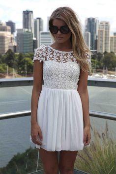 Women Summer Short Sleeve Lace Chiffon Patchwork Dress Casual Floral Pleated Chiffon Dress