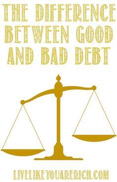 The difference between good debt and bad debt. #debt Debt, Debt Payoff,, #Debt
