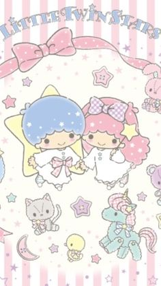 Wallpaper Sanrio Wallpaper, Star Wallpaper, Kitty Wallpaper, Kawaii Wallpaper, Cute Wallpaper Backgrounds, Cute Wallpapers, Little Twin Stars, Little Star, Cute Twins
