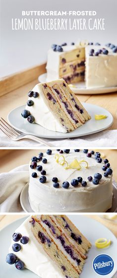 Nothing says springtime like fresh berries. Use nature's sweet candy in your next cake with our Buttercream-Frosted Lemon Blueberry Layer Cake recipe. This dessert serves up to 16 people and would make the perfect addition to  brunch.