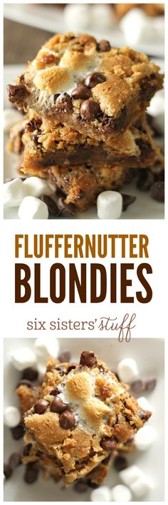 Fluffernutter Blondies on SixSistersStuff.com - peanut butter, marshmallows, and chocolate!
