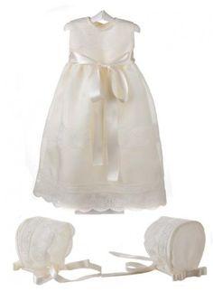 Faldón y capota para bebé de organza de seda y encaje bordado para bautizo y ceremonia