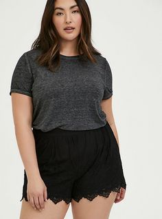 Find sales on Torrid Classic Fit Crew Tee - Vintage Burnout Black and other deeply discounted products at Shop Scenes. Curvy Fashion, Plus Size Fashion, Black Cold Shoulder Top, Plus Size Tops, Vintage Tees, Types Of Fashion Styles, Torrid, Latest Fashion Trends, Plus Size Outfits