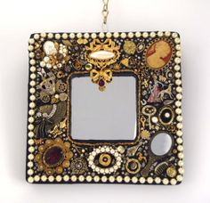 Victorian Jeweled Mosaic Mirror Black and Gold by Nostalgianmore, $85.00
