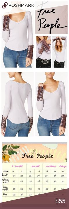 """Free People Art School Embroidered Thermal.  NWT. Free People Lavender Art School Embroidered Thermal Top, 57% cotton, 38% polyester, 5% spandex, machine washable, 15.5"""" armpit to armpit (32"""" all around), 22"""" arm inseam, 25"""" longest point length, go for the laid back yet stylish look in this body-hugging top, plunging V neckline, long sleeves, embroidered raw hem cuffs, raw hem, measured laying flat without stretching, six buttons on cuffs do not fasten, extra button attached, measurements…"""