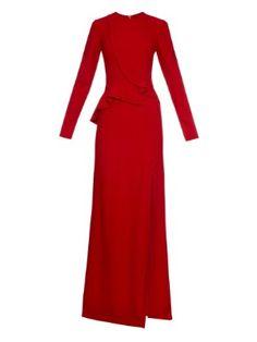 Round-neck ruffle crepe gown | Elie Saab | MATCHESFASHION.COM US
