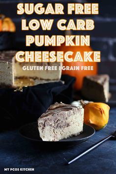How to make a Sugar Free Low Carb Pumpkin Cheesecake - My PCOS Kitchen - This chocolate covered no bake pumpkin cheesecake is so fluffy and delicious! Perfect for the holidays! via My PCOS Kitchen Sugar Free Desserts, Low Carb Desserts, Gluten Free Desserts, Low Carb Recipes, Dessert Recipes, Healthy Desserts, Low Carb Pumpkin Cheesecake, Gluten Free Cheesecake, Cheesecake Recipes