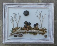FREE SHIPPING This piece will be made to order on a hand painted backboard. Pebble Family of five in the outdoors sitting on a log surrounded by beautiful trees under the sun. Materials used are various desert plants, pebbles, rocks, dried moss, twigs. The frame is open, painted in