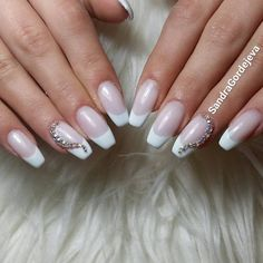 french gel nails with rhinestones