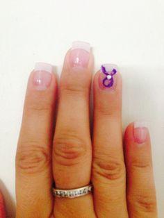 Hodgkins Lymphoma ribbon on nails