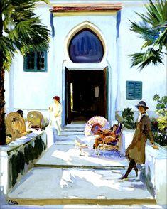 Sir John LAVERY/ Irish painter 1856-1941 ~La porte de ma maison à Tanger - 1920