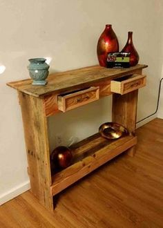 Rustic Pallet Wood Entry Table #pallets #pallet #furniture #tables #rustic