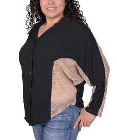 This Black & Cream Tribal Lace Button-Up Top - Plus is perfect! #zulilyfinds