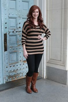 Stripes and chunky sweaters are a must-have for those chilly nights!