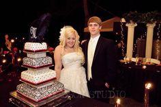 Us with our wedding cake!  Rhinestone wedding cake, Damask, Hot Pink and Black