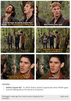 Arthur knows au Arthur angry at Merlin for spilling his secret Merlin Funny, Merlin Memes, Merlin Quotes, Bradley James, Fandoms, Merlin And Arthur, Gwaine Merlin, King Arthur, Merlin Fandom