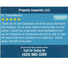 Thank you for your inspection and all the great information and feedback. As we move...