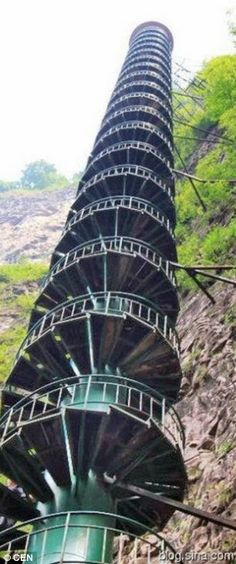 A jawdropping 300-foot staircase along a mountain face in the Taihang Mountains in Linzhou, China.  |See More