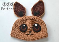 Ravelry: Pokemon Eevee hat pattern by TLH Patterns Diy Crochet And Knitting, Easy Crochet, Crochet Stitches, Crochet Patterns, Crochet Hats, Pokemon Hat, Pokemon Eevee, Pokemon Cosplay, Baby Boy Booties