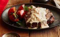 Rib Eye Steak with Onion Blue Cheese Sauce Recipe by Ree Drummond