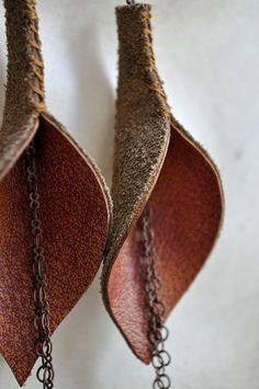 f0b9fffbb944 Burnt Orange Genuine Leather Calla Lily Earrings with Chain. Cuero naranja  quemado lirio aretes con cadena