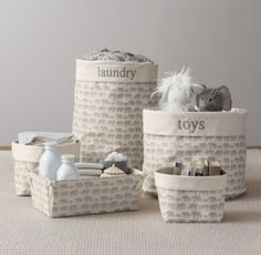 RH baby&child's Nursery Canvas Storage Caddy - Grey Elephant:Marching elephants and curious bunnies, twinkling stars and floating clouds – our favorite childhood themes transform durable cotton canvas into a sweet storage solution for the nursery.
