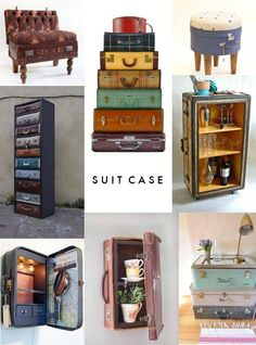 Ideas for recycling old suitcases.