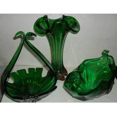 Antika cam murano vazo-gondol-şekerlik 3'lü takımı.
