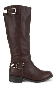 Deb Shops Tall Flat Riding Boot with Gold Buckles $33.00