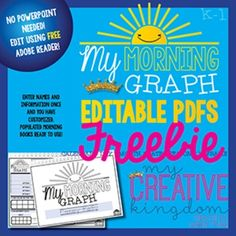EDITABLE PDF K-1 Graph Book Freebie is part of my new Morning Workbook Series intended to make daily teaching easier and more standards-based. The EDITABLE PDFS don't require you cut and paste and NO PowerPoint. Just type your text and print. That's it!
