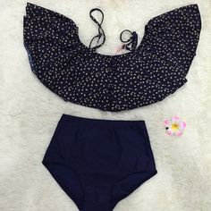 $12.40 Vintage Strappy High-Waisted Print Two-Piece Swimsuit For Women