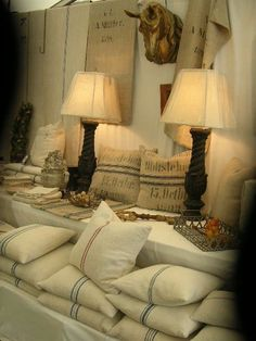 European feed sacks - pillows, wall hangings, lampshades.  Perfect