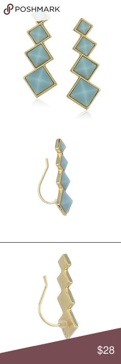 rebecca minkoff // blue stone ear climbers NWT gold-plated Rebecca Minkoff blue stone ear climbers. Perfect for daily wear or to pair with other earrings for a special occasion! Comes with RM jewelry pouch. Rebecca Minkoff Jewelry Earrings