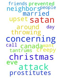 would like prayer concerning attack of satan   I don't - would like prayer concerning attack of satan I dont want to be throwing tantrums Christmas eve and Christmas day was upset by neighbors who call my friends prostitutes, they are some creepy married people from Canada I would like them prevented from being around me  Posted at: https://prayerrequest.com/t/rEK #pray #prayer #request #prayerrequest