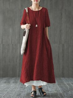 Women Retro Plaid Short Sleeve O-neck Long Shirt Vintage Dress 5518856874ad