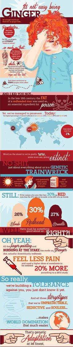 we are NOT Gingers. We are REDHEADS. Whoever made this is poorly informed. BUT it has some interesting points about true *redheads.*   I think it's funny though. I am a true-born redheads, and I have no allergies, have never been stung by a bee, definitely have a soul, and I'm a wimp when it comes to pain (but who knows-- maybe I'd be more of a wimp when it comes to pain if I wore born with another hair color!).